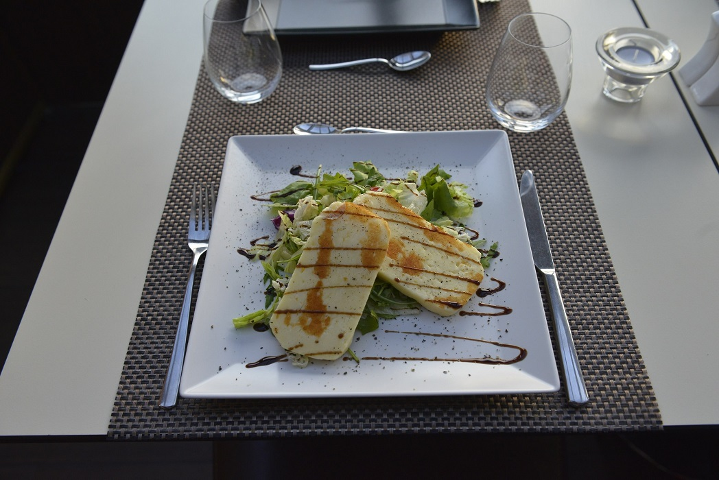 Grilled Halloumi Cheese served with fresh garden salad